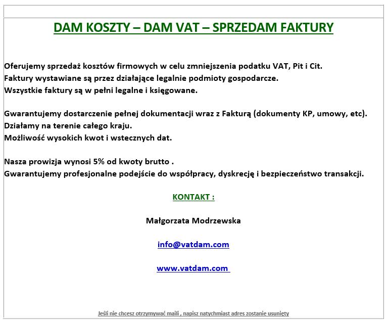 Sprzedam faktury VAT – komunikat ministerstwa.