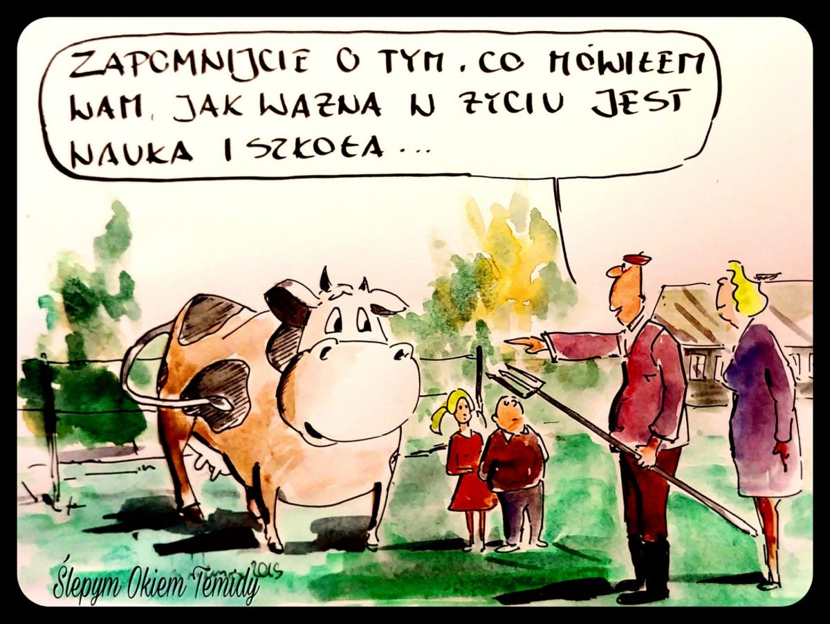 Spór o wynagrodzenie z krowami w tle. Kolejny profesjonalny rysunek satyryczny, który pokazała szkoła #ŚlepymOkiemTemidy.