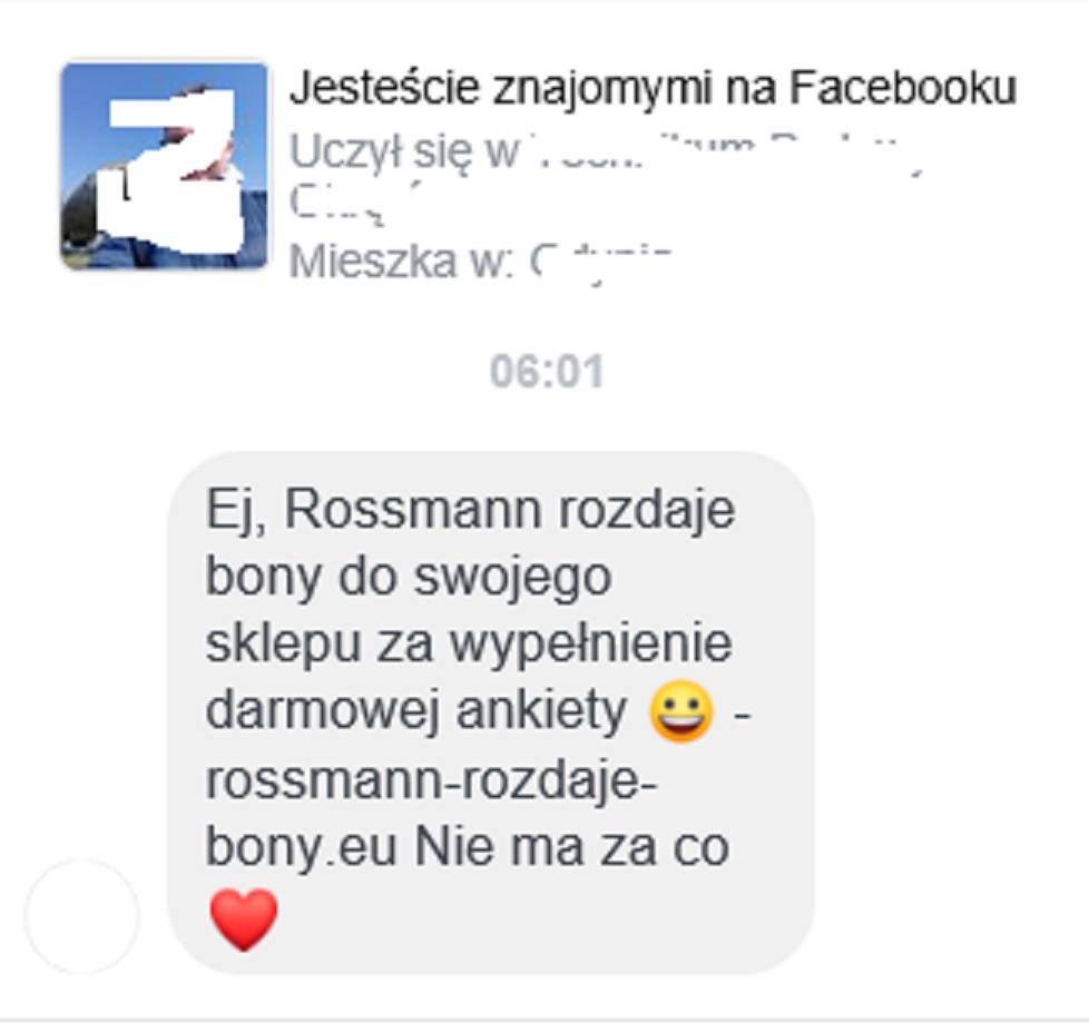 Myślałam, że przekręt na Rossmanna nie wróci, a tu dziś rano w wiadomościach informacja od znajomego z portalu społecznościowego.