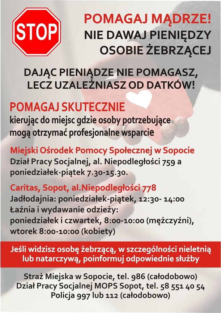 Nie dawaj żebrzącym. Władze Sopotu apelują do mieszkańców i gości o rozsądek przy wspieraniu żebrzących.