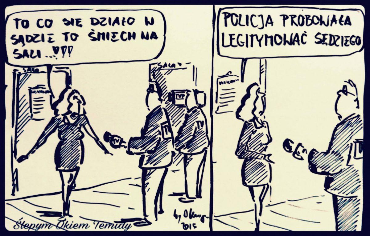 #ŚlepymOkiemTemidy o policyjnej interwencji w sądzie w Poznaniu. Powaga sądu została naruszona.