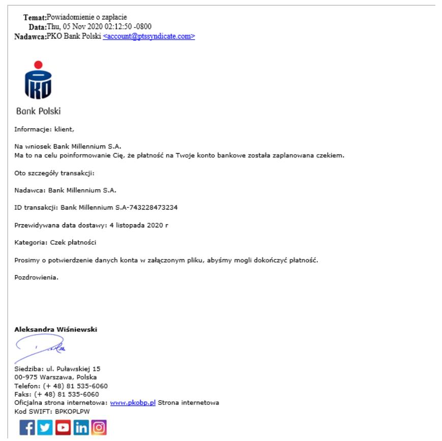 """PKO B.P. ostrzega przed fałszywym """"Potwierdzeniem zapłaty""""."""